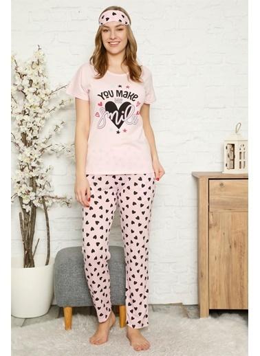 Akbeniz Kadın %100 Pamuk Penye Kısa Kol Pijama Takım 3339 Pembe